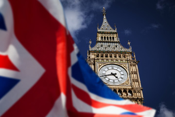 British union jack flag and Big Ben Clock Tower and Parliament house at city of westminster in the background - UK votes to leave the EU Fototapete