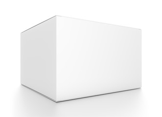 White horizontal rectangle blank box from front side closeup angle.