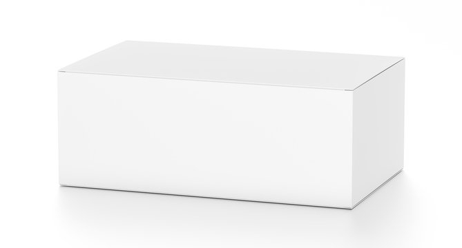 White wide horizontal rectangle blank box from top side far angle.
