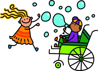 A doodle sketch of a little girl playing with a disabled boy in a wheelchair as he blows soap bubbles.