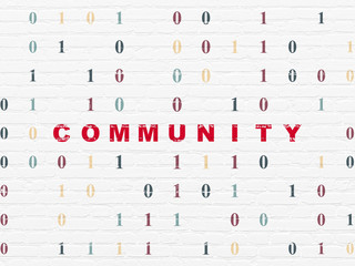 Social media concept: Community on wall background
