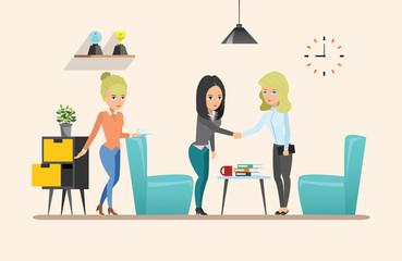 Business meeting. Teamwork shared working. Vector design set 2