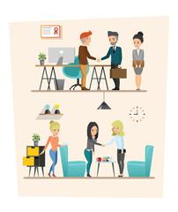 set of Business meeting. Teamwork shared working. Vector design