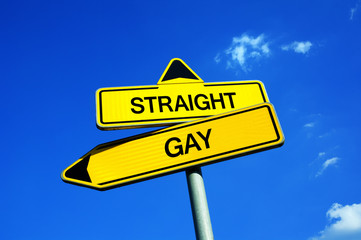 Straight or Gay - Traffic sign with two options - coming out and problem with sexual orientation and identity.