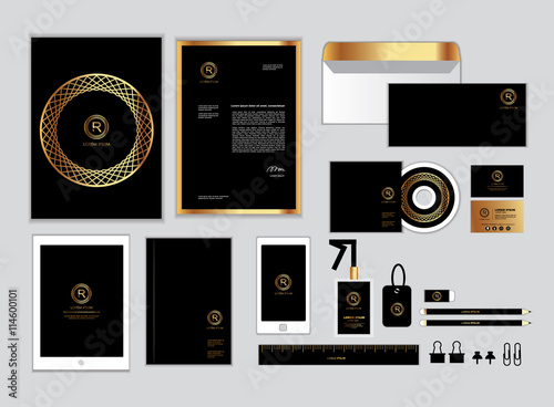 Gold and black corporate identity template for your business gold and black corporate identity template for your business includes cd cover business card reheart Choice Image