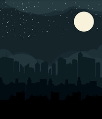 Flat design urban landscape night illustration