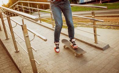 Young man riding a skateboard