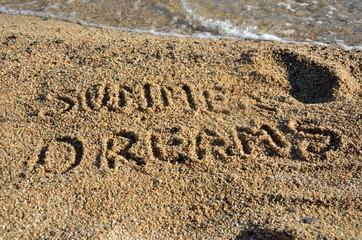 Text Summer Dreams on Beach