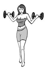 Vrouw traint haar armspieren