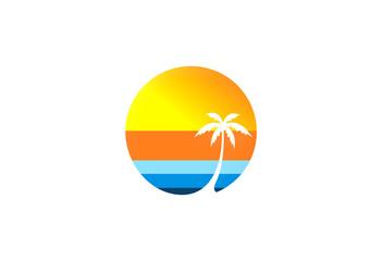Palm Tree Beach Sunset Logo