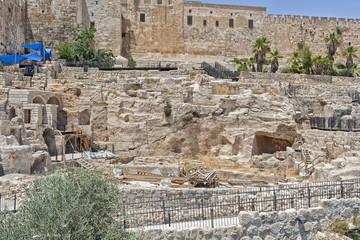 Walking through Jerusalem.