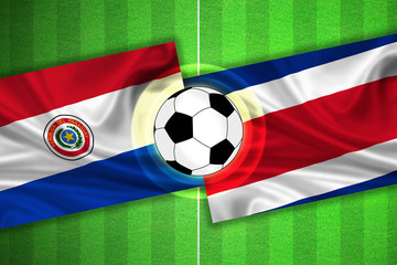 Paraguay - Costa Rica - Soccer field with ball
