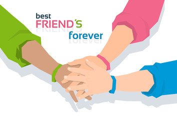 Hand Holding Together Best Friends Forever Friendship Day Banner