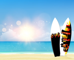 Beach vector background with surf boards.