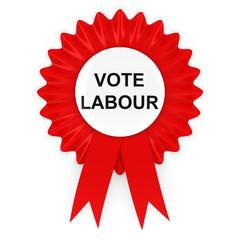 Vote Labour Red Rosette 3D Illustration