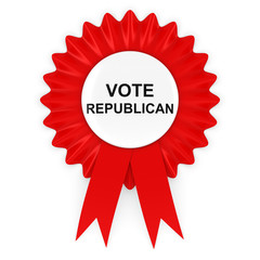 Vote Republican US Elections Red Rosette 3D Illustration