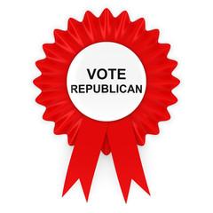 Vote Republican US Elections Red Rosette 3D Illustration