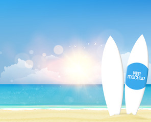 Vector summer background with white surf boards mockup. Realistic vector illustration eps 10-