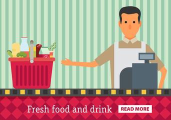 Supermarket. Buy grocery in the supermarket. Vector flat design