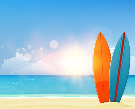 Vector summer background with surf boards. Realistic vector illustration eps 10-