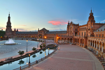 Night view of Spain Square (Plaza de Espana). Seville, Spain