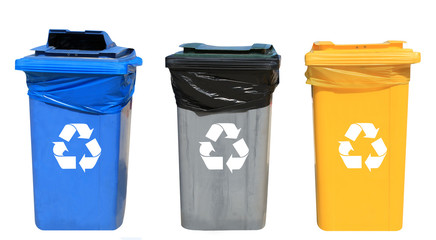 Set of different recycling bins