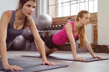 zwei frauen im fitnesskurs machen liegestütz