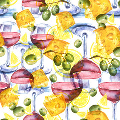 Vintage, watercolor pattern - illustration piece of cheese, glass of red wine, olive branches, lemons. Picture made for design