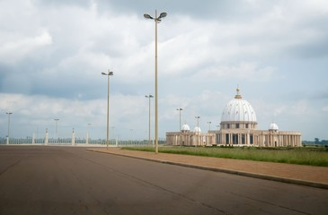 Catholic Basilica of Our Lady of Peace (Basilique Notre-Dame de la Paix) in Yamoussoukro, Cote d'Ivoire. It is considered to be the largest church in the world. Africa, Circa July 2013.