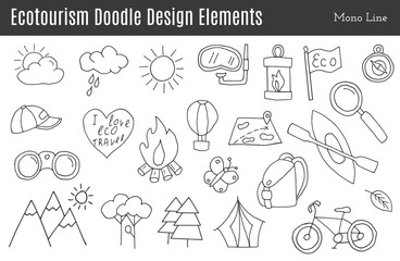 Set of ecotourism design elements in monochromatic line style isolated on a white background. Doodle eco green environmental, nature logo concept. Hand drawn eco tourism vector illustration.