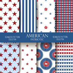 Independence Day seamless pattern vector set.
