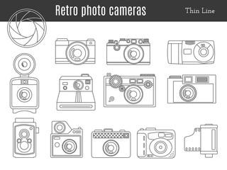 Old retro photo camera set