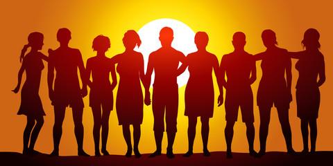 Groupe - Plage - coucher de soleil