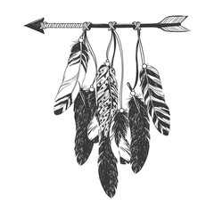 Native American Indian Dreamcatcher with feathers.