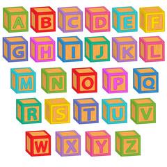 alphabet english blocks - vector illustration, eps