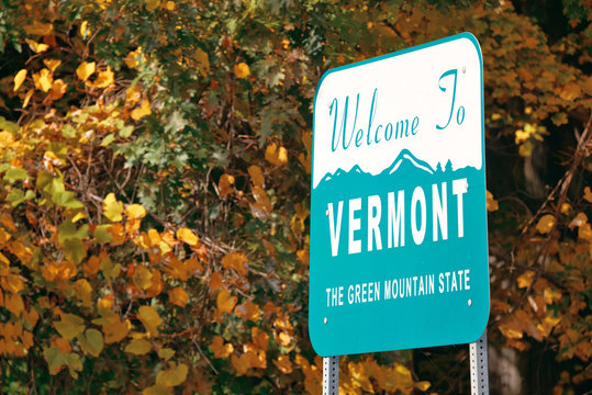 Vermont state welcome sign