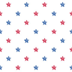 Colorful blue red and white stars seamless background.