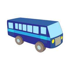 Blue bus icon in cartoon style