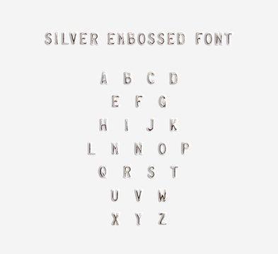 Silver embossed alphabet isolated, 3d illustration. Argent typing font design. Beveled symbols embossing on plastic card. Hammering chamfer type letters text. Grunge metallic lettering emboss fount