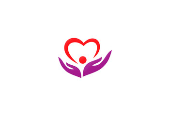 love care heart vector logo
