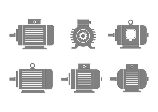 Grey electric motor icons on white background