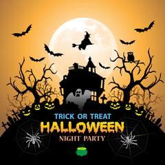 Halloween night party festival holiday design on orange vector illustration
