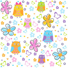 Colorful flowers vector pattern wit owls, butterflies and colorful flowers. Floral pattern illustration