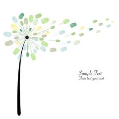Green dandelion with finger prints vector illustration