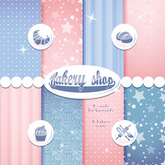 Bakery shop pink and blue background set seamless pattern