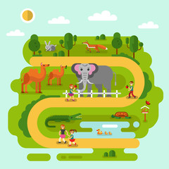 Flat design vector illustration of animals in the Zoo. Elephant, fox, Bactrian camel, rabbit, turtle, crocodile, majestic birds. Happy kids walking and feed animals. Zoo infographics concept.
