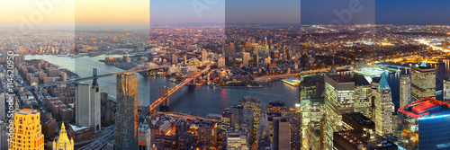 Fototapete New York City downtown day and night