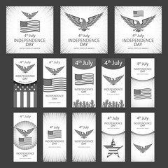 Independence day greeting card with typographic design in vintage style. Set of Independence day graphics, objects and labels, emblems, symbols, icons and badges. Vector templates and design elements.