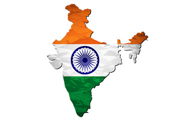 Vector illustration of India flag map.