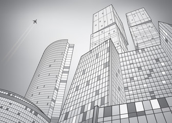 Business building, silver city, infrastructure illustration, modern architecture, skyscrapers, airplane flying, vector design art